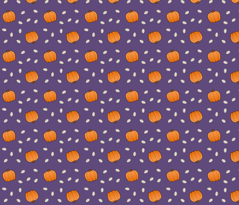 Pumpkins & Seeds - Purple fabric by lowa84 on Spoonflower - custom fabric