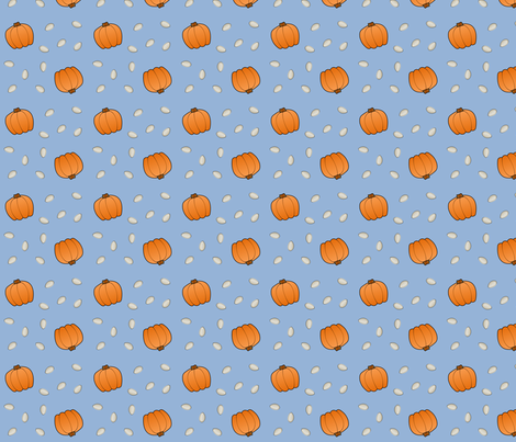 Pumpkins & Seeds - Blue fabric by lowa84 on Spoonflower - custom fabric