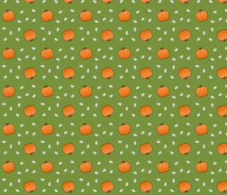 Pumpkins & Seeds - Green fabric by lowa84 on Spoonflower - custom fabric