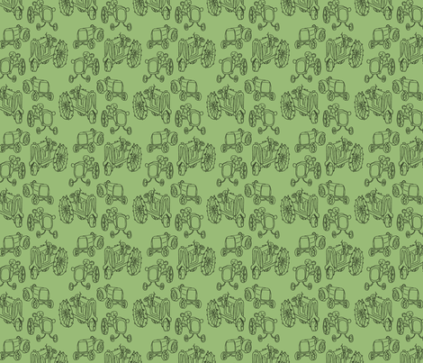 antique_tractors_green (see zoom) fabric by victorialasher on Spoonflower - custom fabric