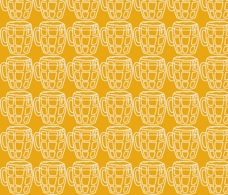 Pint of beer fabric by littlebeardog on Spoonflower - custom fabric