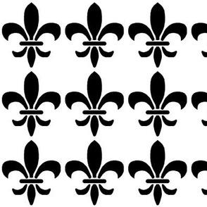 Black and white fleur de lis