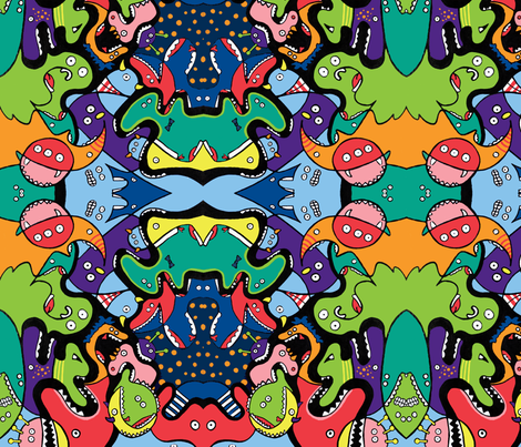 Monsters Eating Monsters fabric by emmaleeerose on Spoonflower - custom fabric
