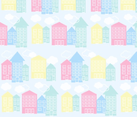 ice cream houses - blue fabric by mondaland on Spoonflower - custom fabric