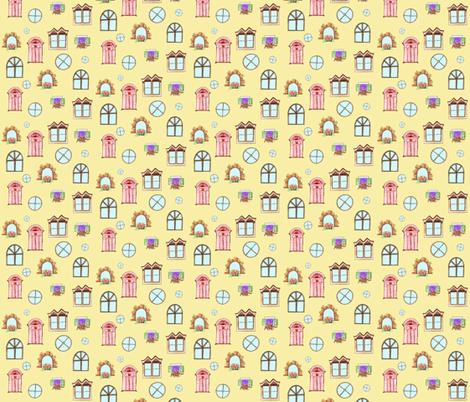 Doodles of doors and windows fabric by sarahthomas on Spoonflower - custom fabric