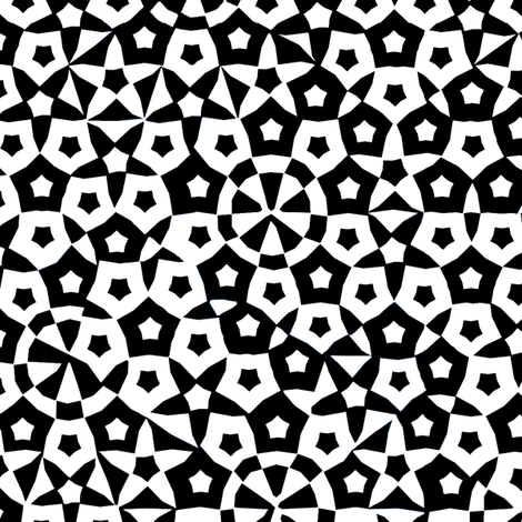 quasicrystal stars (B&W) fabric by weavingmajor on Spoonflower - custom fabric