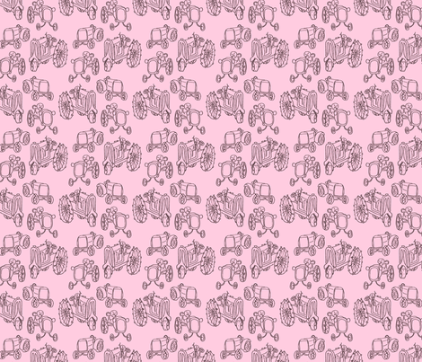 antique_tractors_girly fabric by victorialasher on Spoonflower - custom fabric