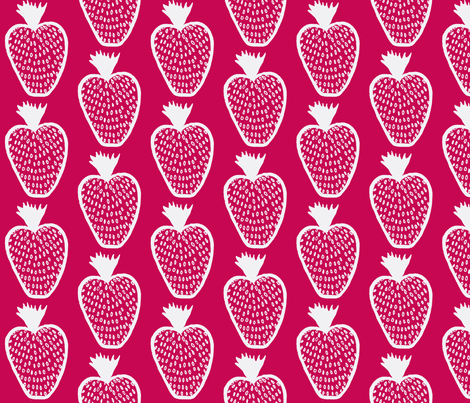 Strawberry fabric by littlebeardog on Spoonflower - custom fabric