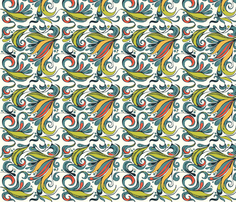 flora swirl bright fabric by delartful on Spoonflower - custom fabric
