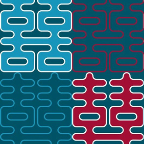 Double Happiness (Teal and Red)
