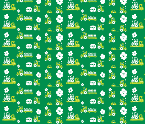 On Wheels in green fabric by bora on Spoonflower - custom fabric