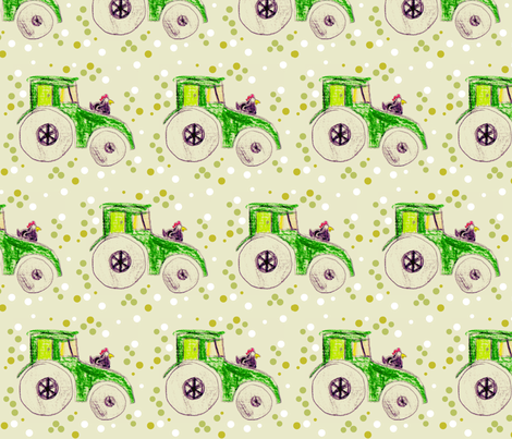 spotty chicken tractor fabric by jaja on Spoonflower - custom fabric