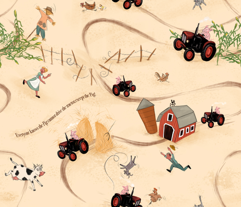 Hog wild on the tractor! Large version fabric by yvonne_herbst on Spoonflower - custom fabric