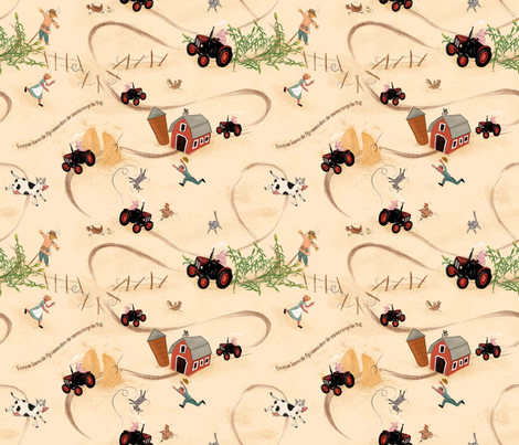 Hog wild on the tractor 2 fabric by yvonne_herbst on Spoonflower - custom fabric