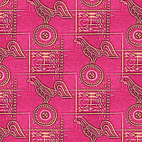 Chicken Rampant, Sinister Pink fabric by nalo_hopkinson on Spoonflower - custom fabric