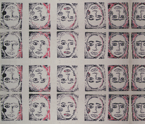 Face the Faces-267 fabric by kkitwana on Spoonflower - custom fabric