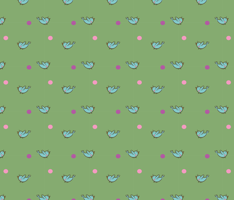 HappyBirdsGrn fabric by leonajaeger on Spoonflower - custom fabric