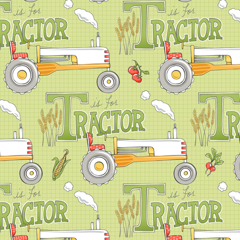 T is for Tractor - CHARTREUSE fabric by pattysloniger on Spoonflower - custom fabric