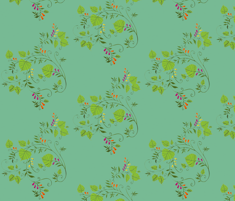 BodhiLeaves&Bellflowers-frenchbluemulti fabric by annebarga on Spoonflower - custom fabric
