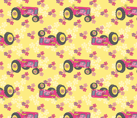 Jane_Dear_Pink_Tractors-01 fabric by deesignor on Spoonflower - custom fabric