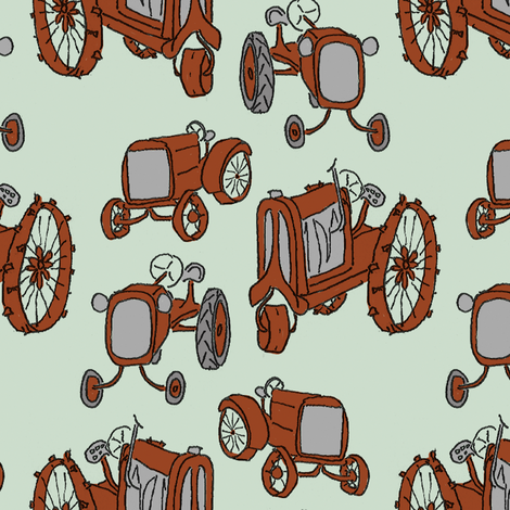 antique_tractors_colored fabric by victorialasher on Spoonflower - custom fabric