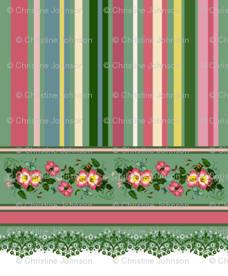 "18"" wild roses stripe border"