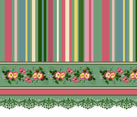 "18"" wild roses stripe border fabric by paragonstudios on Spoonflower - custom fabric"