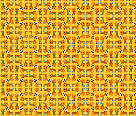 Tilt-A-Whirl Tractors on Field of Gold fabric by cfhdesigns on Spoonflower - custom fabric