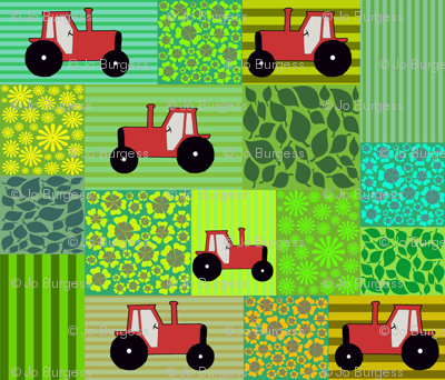 tractors in patchwork fields
