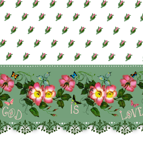 "God is Love   ""petite rosebuds"" Border fabric by paragonstudios on Spoonflower - custom fabric"