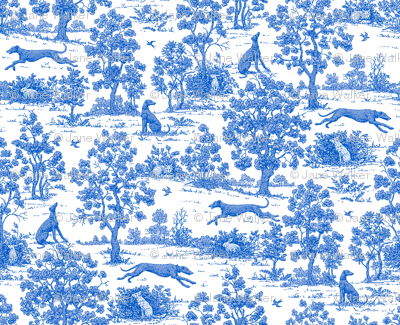 Bright Indigo Blue Greyhound Toile de Jouy  2010 by Jane Walker
