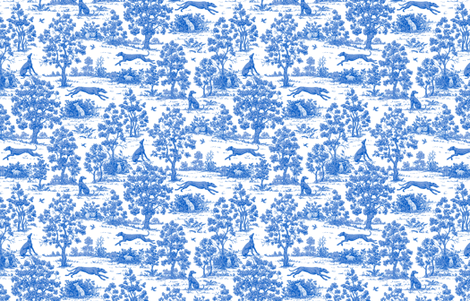 Bright Indigo Blue Greyhound Toile de Jouy  2010 by Jane Walker fabric by artbyjanewalker on Spoonflower - custom fabric