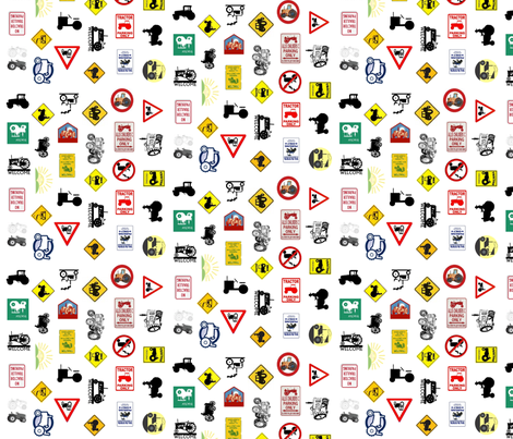 tractor_signs fabric by nufdoog on Spoonflower - custom fabric