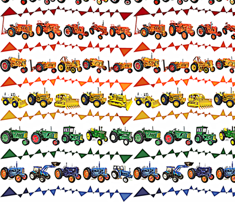 Vivid Rainbow Tractor Fun Time fabric by sarahthomas on Spoonflower - custom fabric