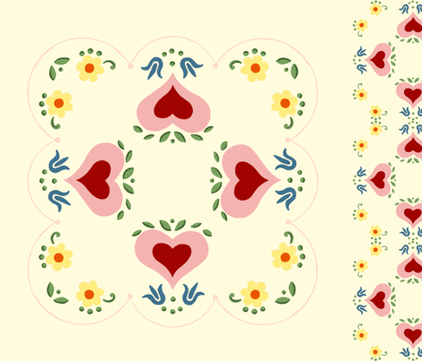 Dutch Hearts  fabric by juliamonroe on Spoonflower - custom fabric