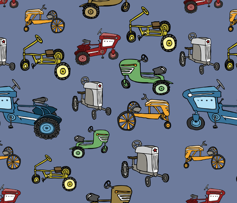 vintage pedal tractors fabric by babysisterrae on Spoonflower - custom fabric