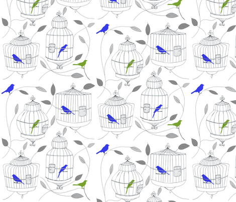 Blue and Lime Green Birds and Cages fabric by dorolimited on Spoonflower - custom fabric