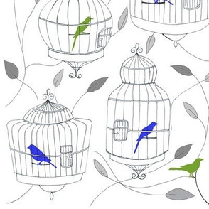 Blue and Lime Green Birds and Cages