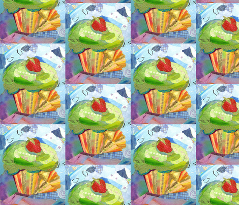 Unwrapped Cupcake fabric by tornpaperpaintings on Spoonflower - custom fabric