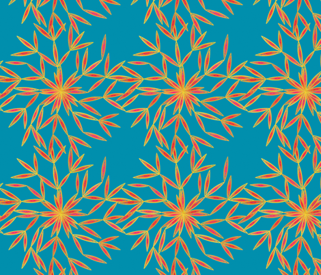 Snow Flower Orange & Teal Blu fabric by patsijean on Spoonflower - custom fabric