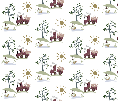 Sunshine Tractor fabric by ikki_pokki on Spoonflower - custom fabric