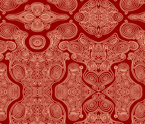 Swirls_-_pink_dark fabric by janicesheen on Spoonflower - custom fabric