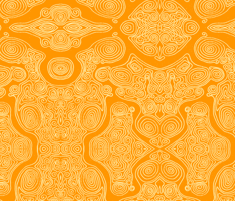Swirls_-_Yellow_dark fabric by janicesheen on Spoonflower - custom fabric