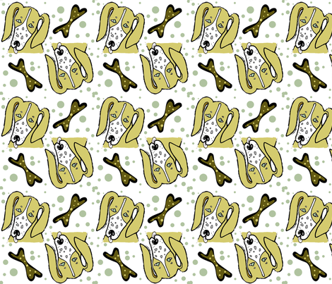 Hound Dog Polka Dots Bones fabric by ikki_pokki on Spoonflower - custom fabric
