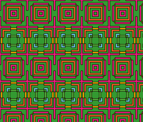 Deco Checks (Green) fabric by nekineko on Spoonflower - custom fabric