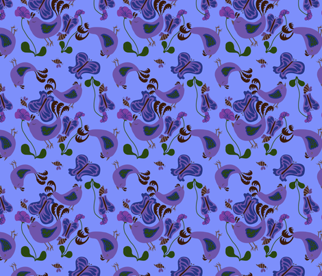 Blue Bird Bliss fabric by periwinklepaisley on Spoonflower - custom fabric
