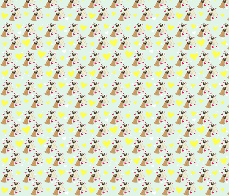 PUG LOVE fabric by printedpretties on Spoonflower - custom fabric
