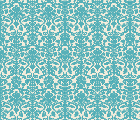 Blue Damask fabric by eskimokissez on Spoonflower - custom fabric