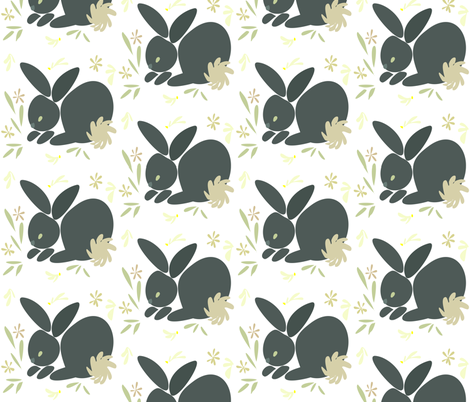 Grey Bunny fabric by ikki_pokki on Spoonflower - custom fabric