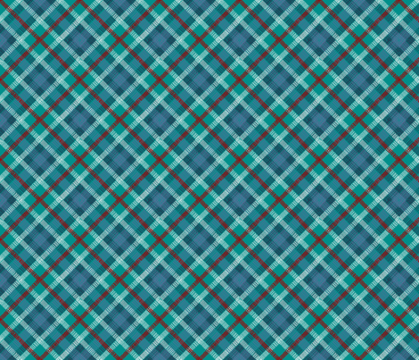 GoBaggery Whimsicle Tartan - Blue/Green/Red fabric by gobaggerydesign on Spoonflower - custom fabric